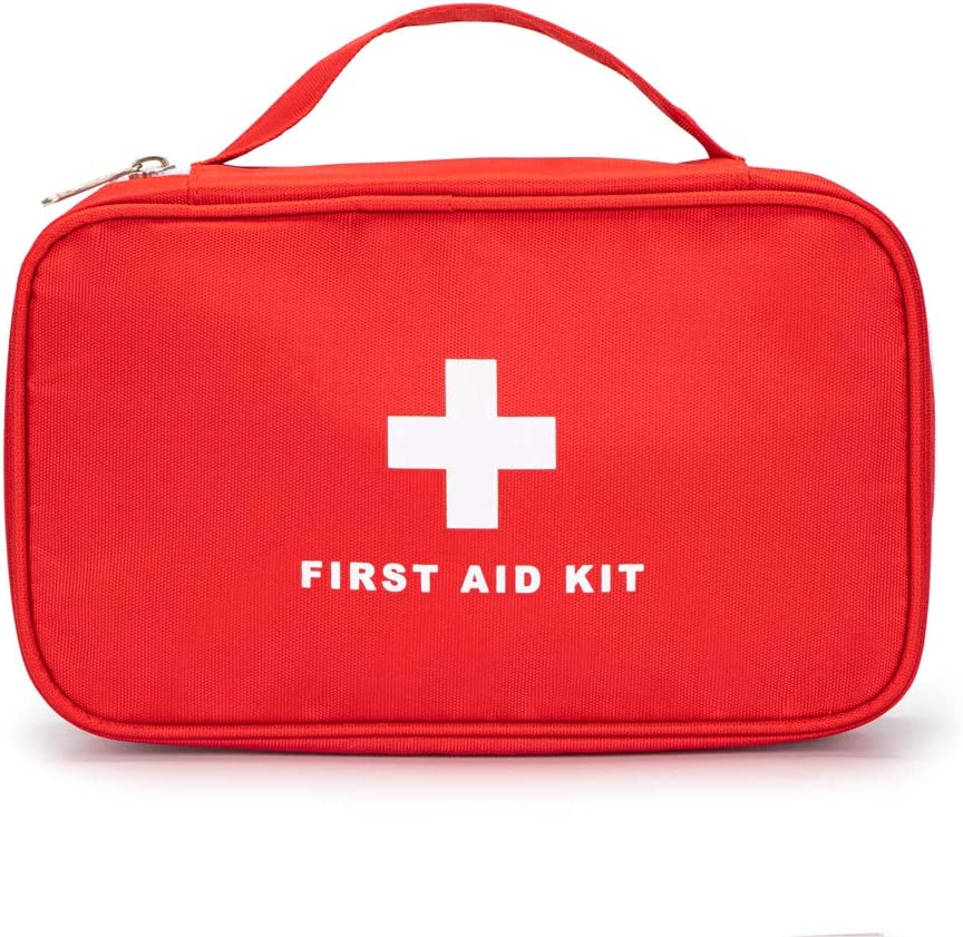 Jipemtra Red First Aid Bag Empty Travel Rescue Bag Empty Pouch First Responder Storage Compact Survival Medicine Bag for Car Home Office Kitchen Sport Outdoors (Red with Handle)
