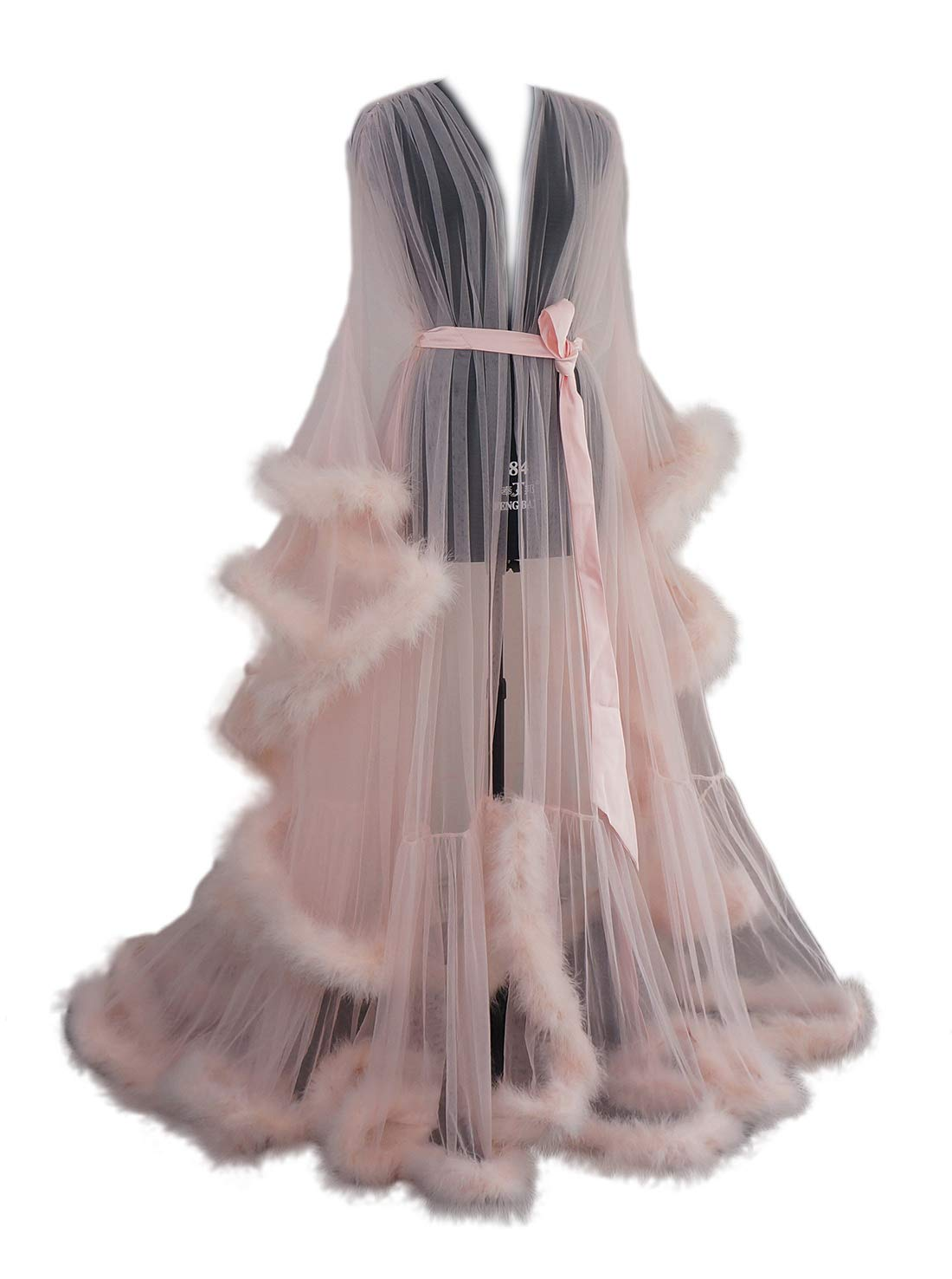 Old Hollywood Feather Robe Sexy Boudoir Robe Feather Bridal Robe Tulle Illusion Long Wedding Scarf New Custom Made Blush Pink