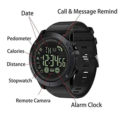 Amazon.com: T1 Tact Military Grade Super Tough Smart Watch Outdoor Sports Talking Watch Mens Digital Sports Watch Waterproof Outdoor Pedometer Calorie ...