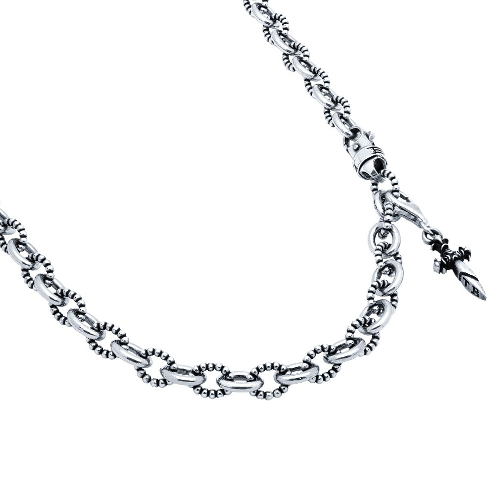 Twisted Blade 925 Sterling Silver Silver Beaded With Dangling Dagger Charm Necklace 24''