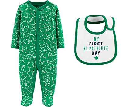 Carter s Baby s First St Patrick s Day Shamrock Sleep and Play Footed  Sleeper with Bib for Girls b52507136