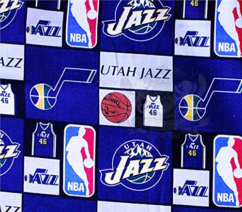 "100% Cotton Fabric Quilt Prints -"" 06 Utah Jazz Boxed Up"" s / 54"" Wide/So."