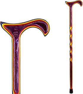 product image for Handcrafted Wood Walking Cane - Made in the USA by Brazos - Twisted Color - 37 Inches - Plum