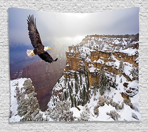 Wildlife Decor Tapestry by Ambesonne, Aerial View of Bald Eagle Flying in Snowy Grand Canyon Rocky Arizona USA, Wall Hanging for Bedroom Living Room Dorm, 60 W X 40 L Inches, White Brown - Eagle Tapestry