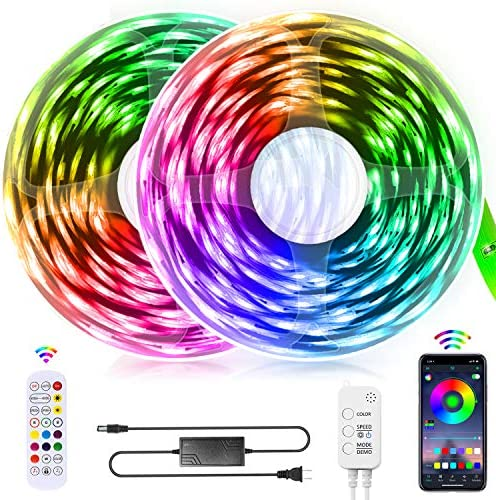 LED Strip Lights, QZYL 65.6FT 5050 RGB Led Light Strip Color Changing Led Strips with Bluetooth Controller Sync to Music Apply for TV Bedroom,Kitchen,Party,Bar and Home Decor(2X32.8FT)