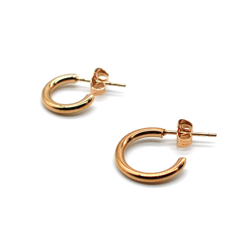 M/&T 2015 14K Rose Gold Plated Hoop Earrings 16mm Stainless Steel Earrings with Gift Box Hoop Earrings RE74