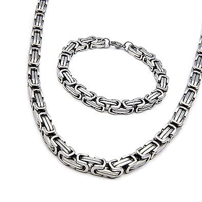ae4888488fc HengYing Collier et Bracelet Homme Suite Chaîne en Acier Inoxydable Bracelet  de 56 cm 23 cm