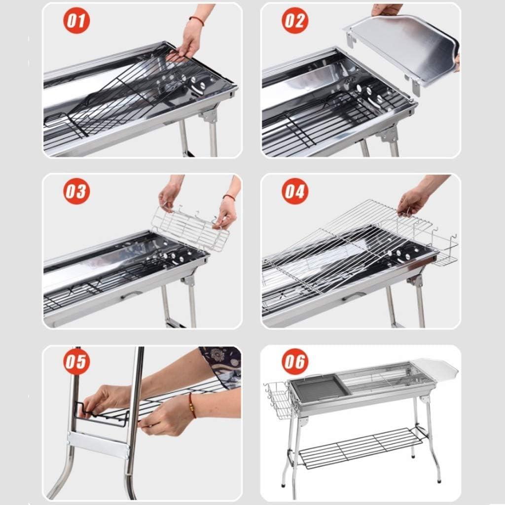 Barbecue Grill Barbecue en Acier Inoxydable Grill,ménage extérieur Pliant Grill Barbecue Portable Portable Tools @ (Couleur: A) A