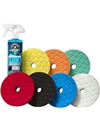 """Chemical Guys BUFX700 5.5"""" Hex-Logic Quantum Best of The Best Buffing and Polishing Pad Kit, 16 fl. oz (8 Items)"""