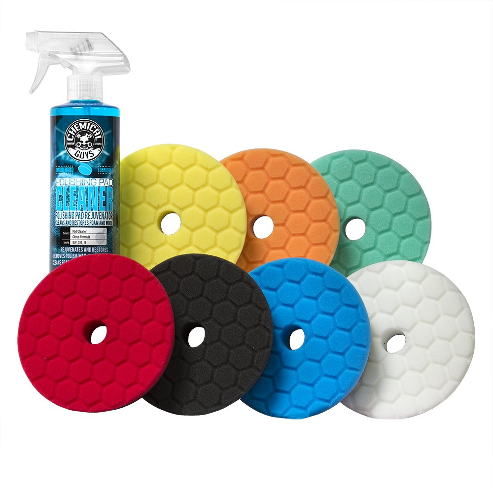Chemical Guys BUFX700 5.5'' Hex-Logic Quantum Best of the Best Buffing and Polishing Pad Kit, 16 fl. oz (8 Items)