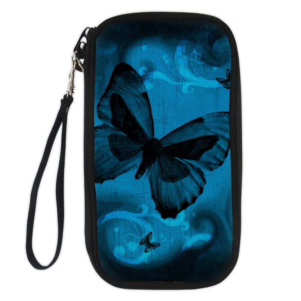 WHEREISART Fashion Women Passport Holder Butterfly Printed Travel Card Document Organizer