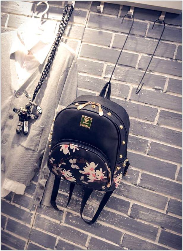 Sac A Dos Femme Fille Ados Petit Sac /à Dos Antivol Cours College Chic Lycee Ecole Leger Cuir Fleurs Mode Cadeau Unique Noir//Papillons