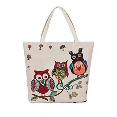 Aelicy dropshipping new hot Selling Owl Printed Canvas Tote Casual Beach Bags Women Shopping Bag Handbags