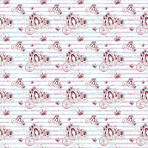 Baocicco 10x10フィート プリンセスシリーズ 背景幕 ビニール 写真 背景 パンプキン キャリッジ ブルーとホワイト ストライプ 赤ちゃん 女の子 部屋 室内装飾 壁紙 フォトスタジオ   B07GSL3QTS