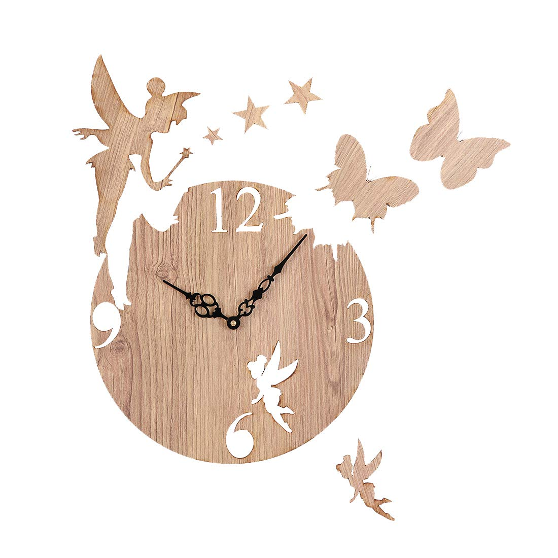 9.)Sehaz Artworks, Fairy Butterfly Decorative Wall Clock Non Ticking Silent - 10 Inch Quartz