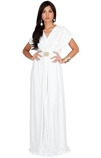58cb6e2efed7 KOH KOH Womens Long Floor Length V-Neck Short Sleeve Flowy Summer Spring  Party Bridesmaids