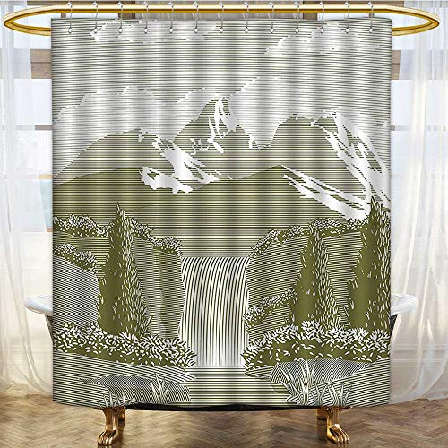 Mikihome Shower Curtains Digital Printing Woodcut Style Mod of Stream and Paradise Art Sage Green Satin Fabric Bathroom Washable W72 x H78 inch ()