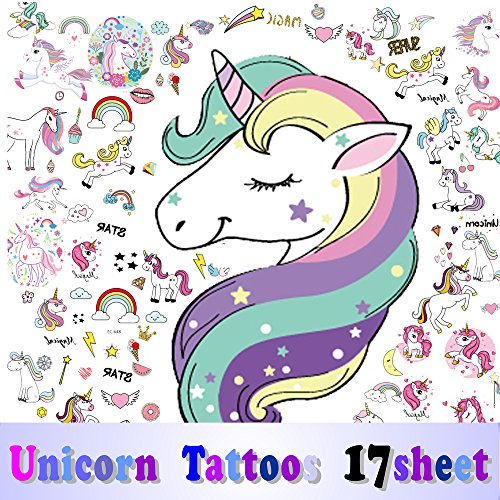 BALEMS Unicorn Temporary Tattoos For Children,More Than 300 Tattoos (Pack of 17 Sheets)- Non Toxic Waterproof Cartoon Rainbow Unicorn Tattoos Sticker for Party Favors Party Decorations