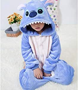 Stitch Overalls Jumpsuit Kids Children Animal Cosplay Costume Onesie Blanket Sleepers Pajamas Hyococ (Color : Blue, Size : 11)