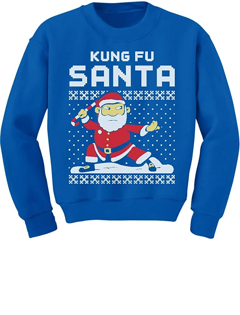 TeeStars - Kung Fu Santa Ugly Christmas Sweater Funny Toddler/Kids Sweatshirts 2T Blue GhPh3r0gf5P0f59to