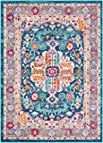 2 x 3 Bohemian Area Rug Overdyed Vintage Distressed Floral Medallion Multi Teal