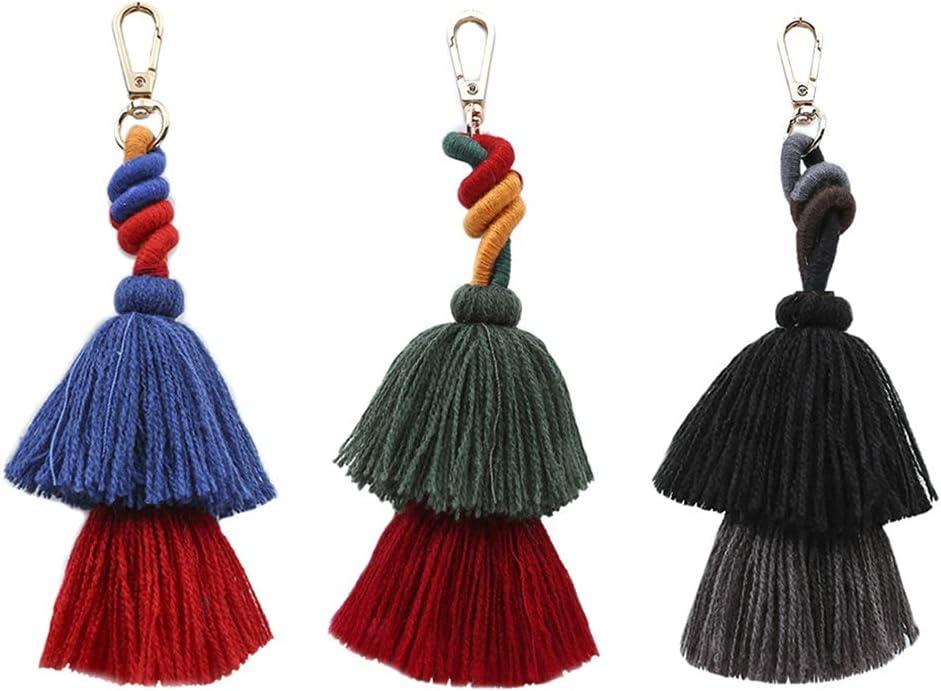2Pcs Keychains for car Key Decoration/&Bohemia Dual Layer Tassel Pendant Women Keychain Key Ring Handbag Ornament Gift,Keychains for Men,Women