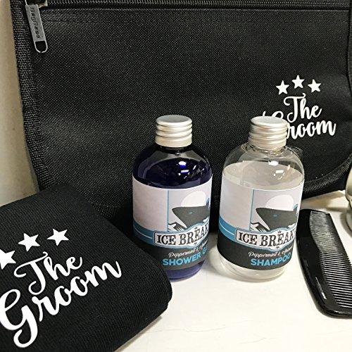 Sposi Morning Wash bag riempito con calzini, zecche, docciaschiuma, shampoo, balsamo per le labbra e pettine