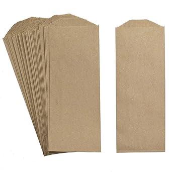 Amazon.com: Bolsas de papel natural de estraza para guardar ...