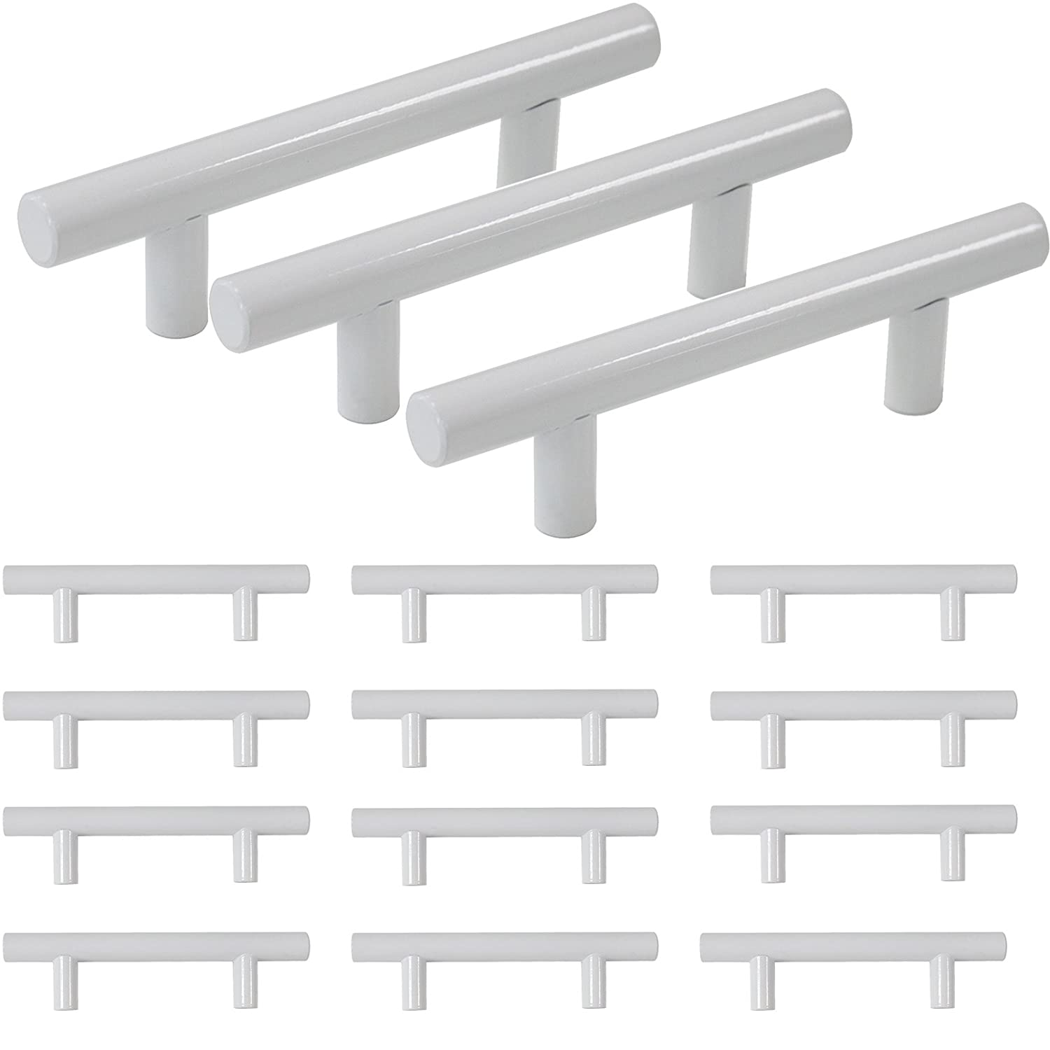 """Probrico 3"""" Hole Centers Modern White Kitchen Bathroom Cabinet Pulls Euro Round T Bar Handles Drawer Dress Pulls Stainless Steel Furniture Hardware-5"""" Overall Length(15Pack)"""