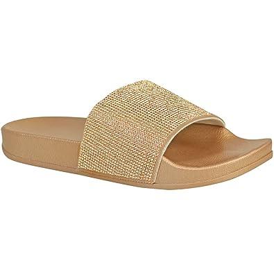 971833428c80 Womens Stylish Diamante Comfy Sliders Flipflop Slippers (UK4 (EU37 ...