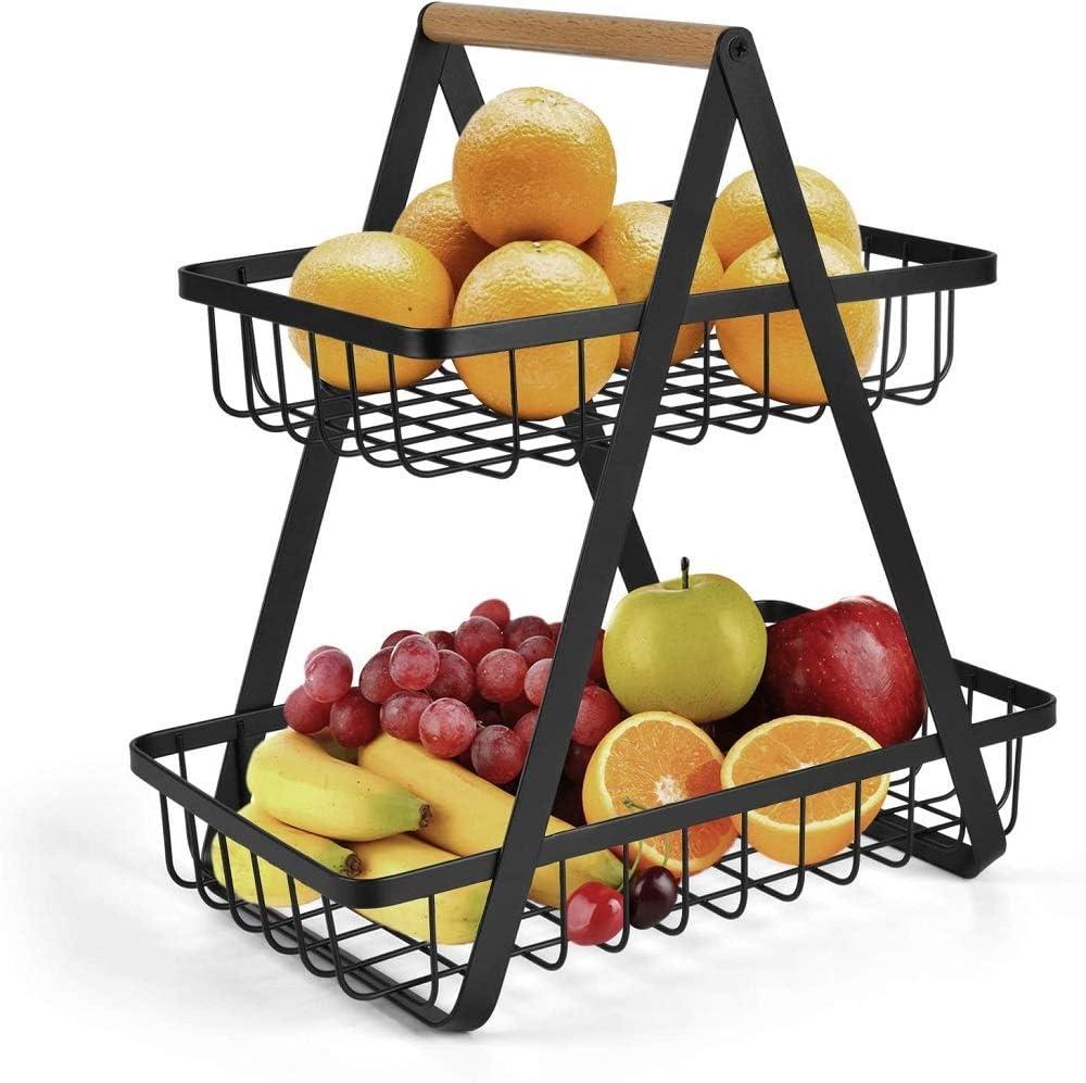 Black 2 Tier Fruit Bowl Vegetable Rack Bread Display Stand for Kitchen Fruit Basket Storage