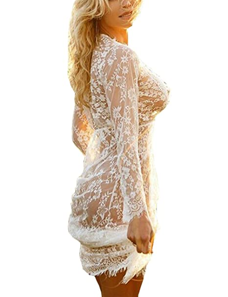3dd2568a855f7 Gogoboi Sexy Women Deep V Neck Long Sleeve Lace Mesh Beach Cover Up See  Through Maxi