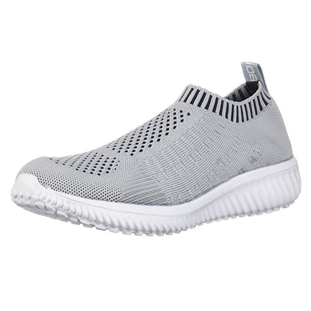 Women's Breathable Sneakers Summer Ultra Lightweight Running Walking Knit Shoes Casual Hollow Out Mesh-Comfortable Shoe (Gray, US:9)