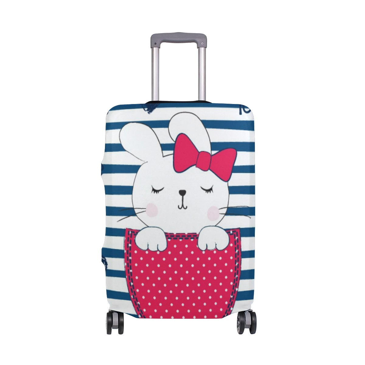 Cute Rabbit Striped Love Suitcase Luggage Cover Protector for Travel Kids Men Women
