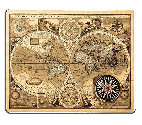 Price comparison product image MSD Natural Rubber Gaming Mousepad Old map 1626 A new and accvrat map of the world IMAGE 17357680