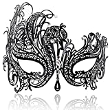 #6: FaceWood Masquerade Mask For Women Ultralight Metal Mask Shiny Metal Rhinestone Venetian Pretty Party Evening Prom Ball Mask.