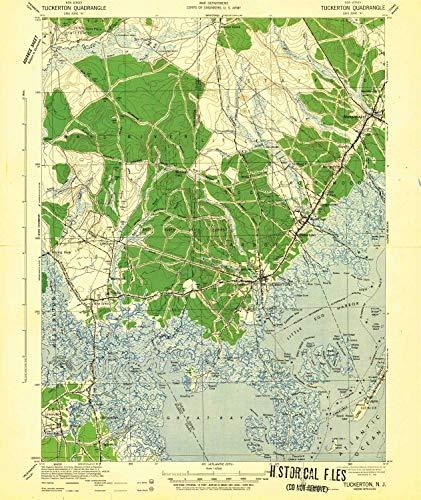 YellowMaps Tuckerton NJ topo map, 1:62500 Scale, 15 X 15 Minute, Historical, 1942, 19.7 x 16.6 in - Paper