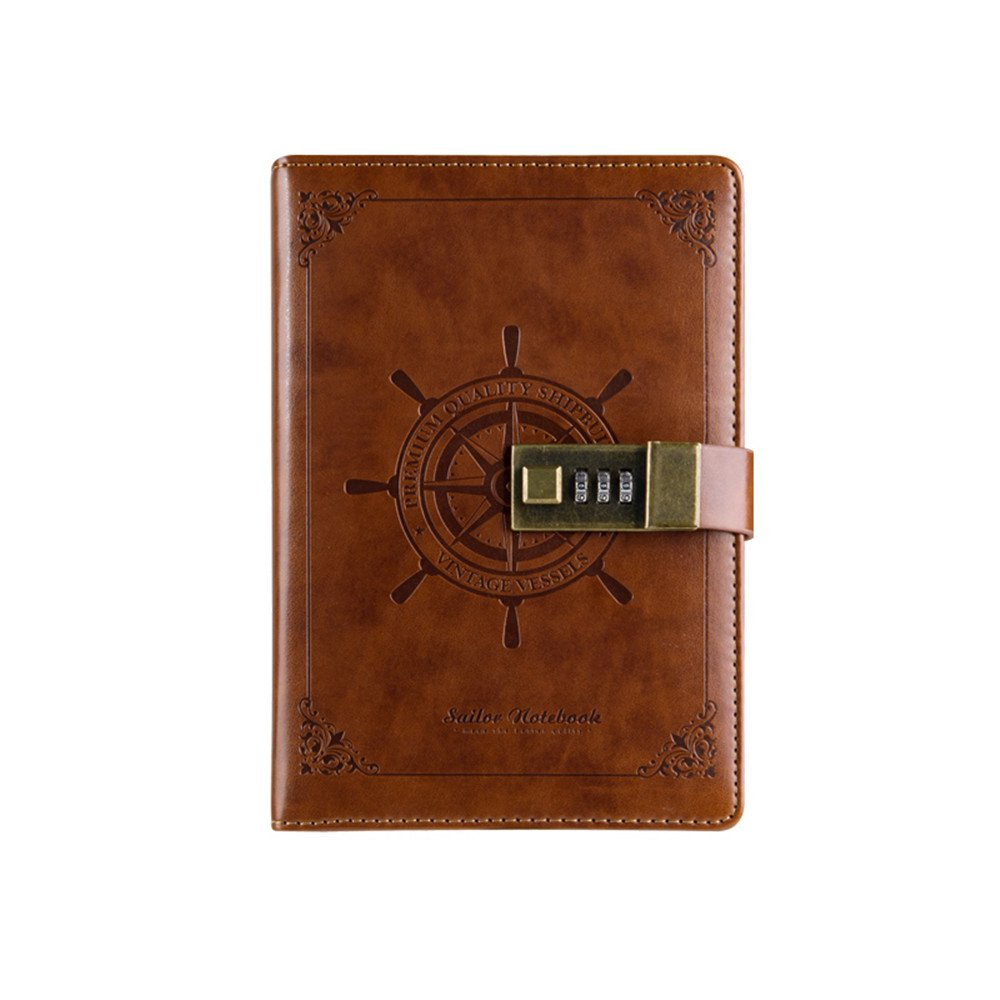 PU Leather Notebooks/Journal Classic Lock Diary Bussiness Writing Books 5.5 X 7.9inch 220 Pages(Brown)