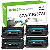 AZTECH 4 Pack 9,000 Page Yield Black Toner Cartridge Replaces 87A CF287A CF287 Used for Printers LaserJet M506 M506n M506x M506dn LaserJet MFP M527 M527dn M527z M527f LaserJet Pro M501n M501dn