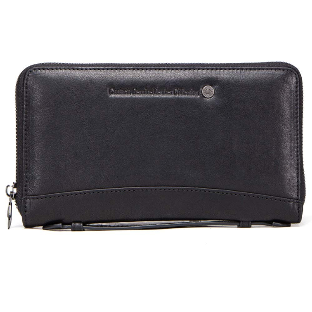 TongLing Mens Wallet Leather Fashion Multi-Function Leather Business Clutch Black Bag Trend Color : Black, Size : S