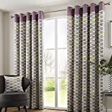 Fusion Copeland Leaf Heather Pink Fully Lined Eyelet Grommet Top Curtains > 90″ Wide x 90″ Drop