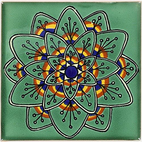 (Tierra y Fuego Box of 9-4¼ x 4¼ Green Peacock Flower - Talavera Mexican Ceramic Tiles)