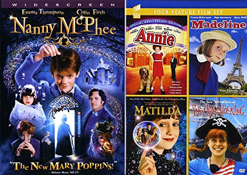 Girl Power Teen Adventure Collection - Annie, Matilda, & The New Adventures of Pipi Longstocking / Nanny McPhee + Madeline -Movie DVD 5 Feature Bundle ()