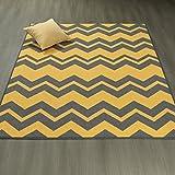 Ottomanson Studio Collection Chevron Waves Design Area Rug, 3'3″ X 5'0″, Yellow & Grey For Sale