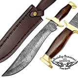 Beautiful Rose Wood 17″ Fixed Blade Handmade Damascus Steel Hunting Knife 100% Top Quality For Sale