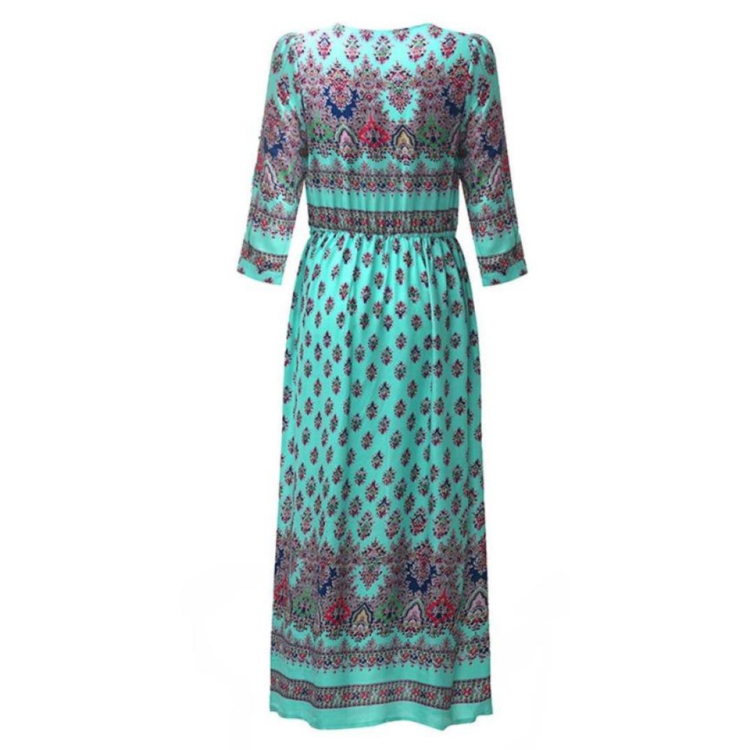 8958a0dafa9ff UOFOCO Summer Dress Women Maxi Dress Sundress Bohemian Tunic Floral Party  Beach Long at Amazon Women s Clothing store