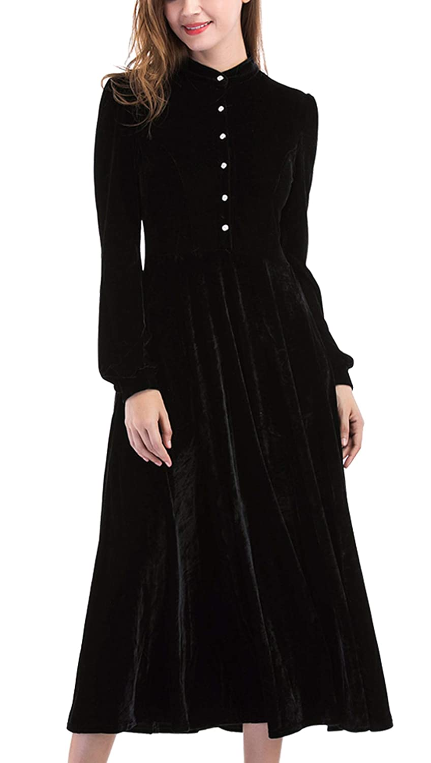 1930s Day Dresses, Afternoon Dresses History Ayliss Women Velvet Maxi Dress Peter Pan Collar Long Sleeve Swing Dress $29.99 AT vintagedancer.com