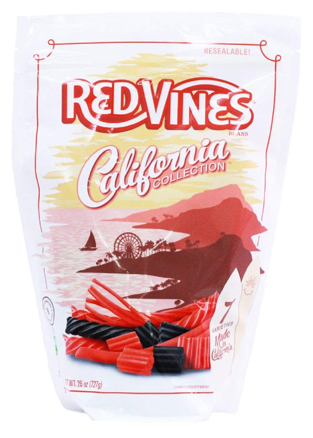 Red Vines Red & Black Licorice Assortment, 26oz Bag(6 Pack), California Collection, Soft & Chewy Candy by Red Vines