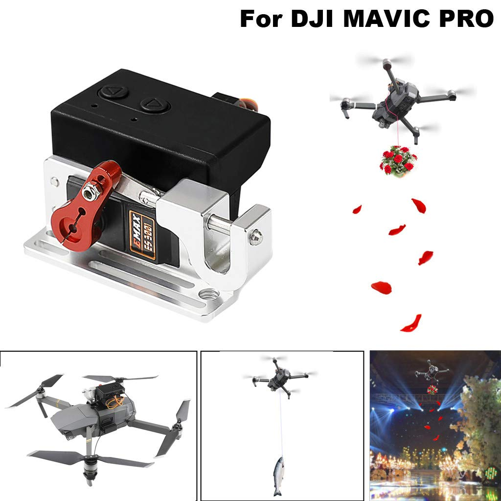 COLOR-LILIJ Upgrade Drone Clip Payload Delivery Drop Transport Device for DJI Mavic PRO, Drone Clip Payload Delivery Drop Transport Device Drone Release Fishing Bait Carrying Wedding Proposal Device