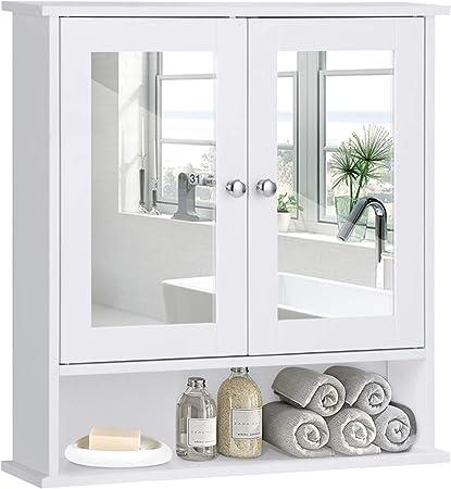 COSTWAY Armadietto a Specchio Mobile da Parete per Bagno, Pensile a Muro, Bianco, 58 x 56 x 13 cm
